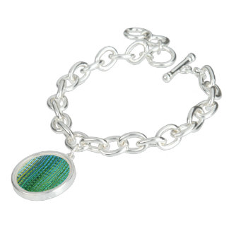 Seagrass Bangle Bracelet with Round Charm