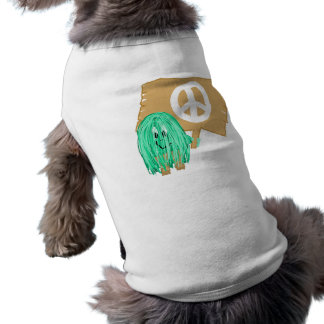 seagreen white peace doggie tshirt