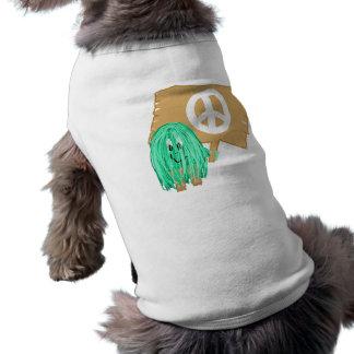 seagreen white peace doggie tshirt