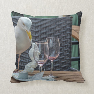 Seagull and empty glasses throw cushion