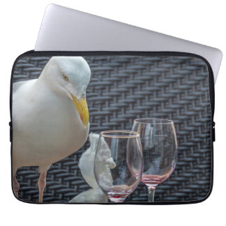 Seagull and empty wine glasses laptop sleeve