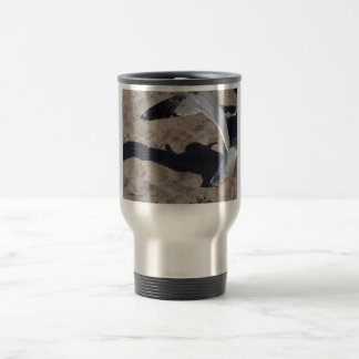 Seagull and shadow. Neat effect on sand! 15 Oz Stainless Steel Travel Mug