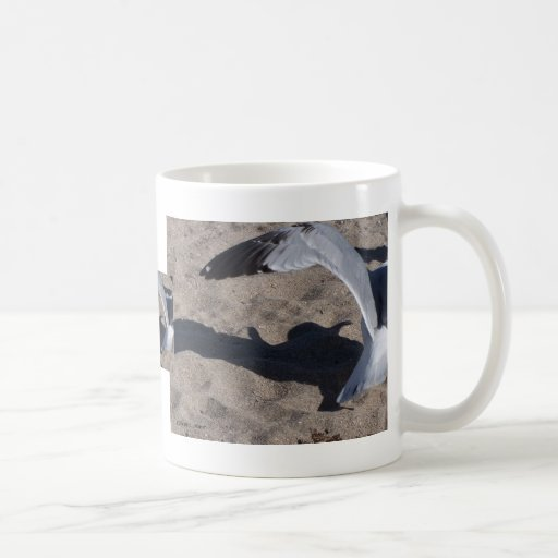 Seagull and shadow. Neat effect on sand! Coffee Mugs