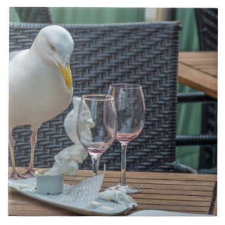 Seagull and two empty glasses ceramic photo tile
