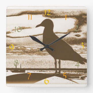Seagull at Dusk by the Sea Shore Square Wall Clock