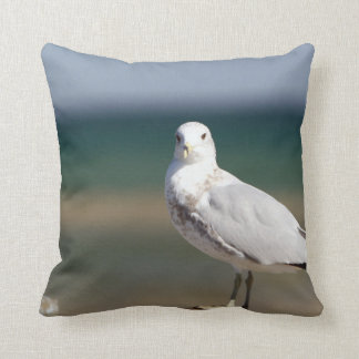 Seagull at Ocean beach house decor throw pillow