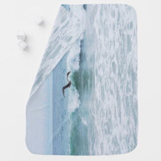 Seagull at the Beach in California Baby Blanket