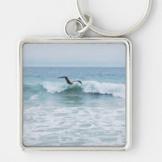 Seagull at the Beach in California Silver-Colored Square Keychain