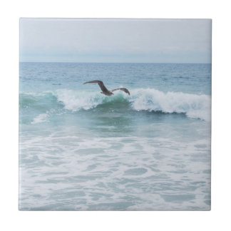 Seagull at the Beach in California Tile