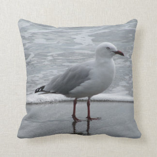 Seagull at Waters Edge Throw Pillow