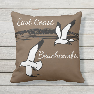 Seagull Beach East Coast Beachcomber outdoor Throw Pillow