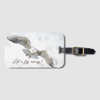 """Seagull beach """"let's fly away"""" luggage tag"""