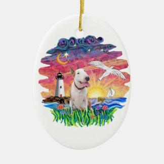 Seagull-Bull Terrier (B) Ceramic Ornament