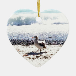 seagull by the ocean on the beach picture ceramic heart ornament