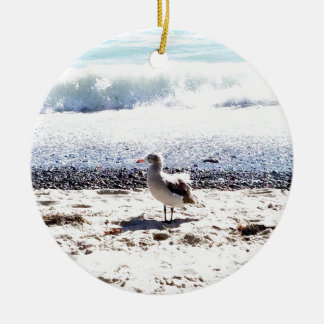seagull by the ocean on the beach picture ceramic ornament