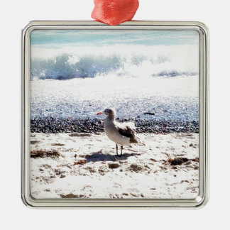 seagull by the ocean on the beach picture metal ornament