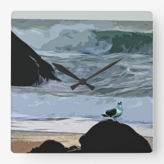 Seagull by the Sea Square Wall Clock