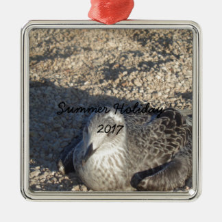 Seagull Enjoying The Sun Summer Photography Silver-Colored Square Ornament