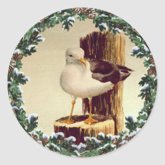 SEAGULL & FIR WREATH by SHARON SHARPE Classic Round Sticker