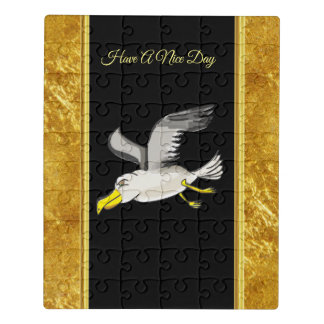 Seagull flying over head with a gold foil design jigsaw puzzle