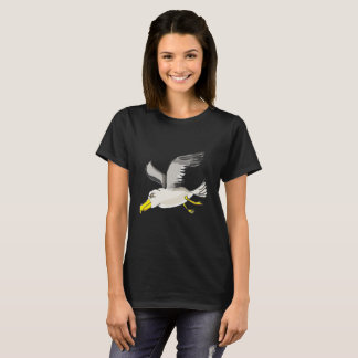 Seagull flying over head with a gold foil design T-Shirt