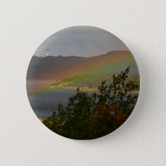 Seagull Flying past a Rainbow in Ardnamurchan 2 Inch Round Button