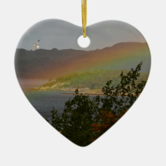Seagull Flying past a Rainbow in Ardnamurchan Ceramic Ornament