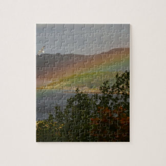 Seagull Flying past a Rainbow in Ardnamurchan Jigsaw Puzzle