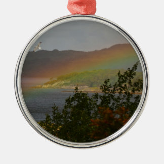 Seagull Flying past a Rainbow in Ardnamurchan Metal Ornament