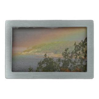 Seagull Flying past a Rainbow in Ardnamurchan Rectangular Belt Buckle