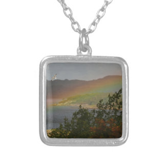 Seagull Flying past a Rainbow in Ardnamurchan Silver Plated Necklace