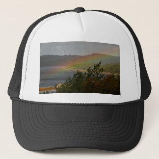 Seagull Flying past a Rainbow in Ardnamurchan Trucker Hat
