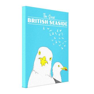 Seagull Illustration British Seaside Travel Poster Canvas Print