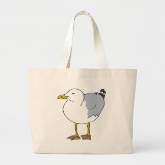 Seagull Illustration Large Tote Bag