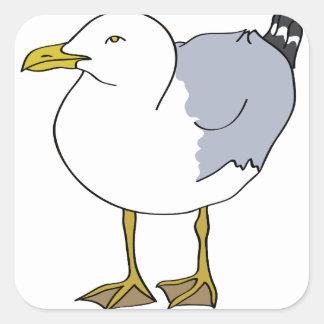 Seagull Illustration Square Sticker