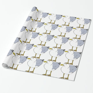 Seagull Illustration Wrapping Paper