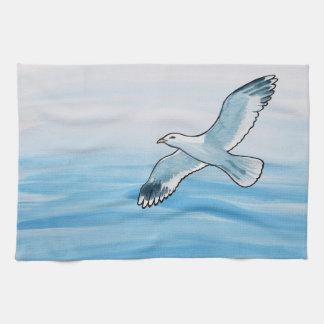 Seagull in Flight Kitchen Towel