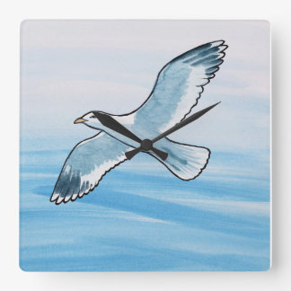 Seagull in Flight Square Wall Clock
