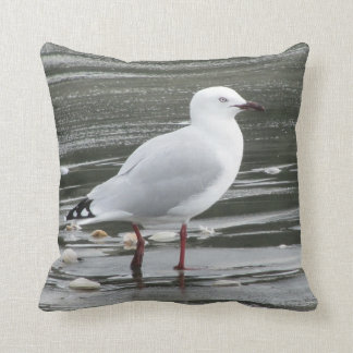 Seagull in the Sea Throw Pillow