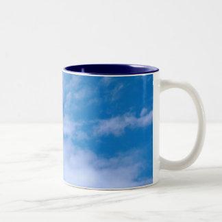 Seagull in the sky Two-Tone coffee mug