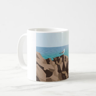 Seagull looking out to sea coffee mug