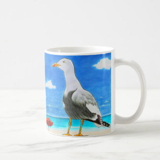 Seagull on a sunny beach under blue sky mug