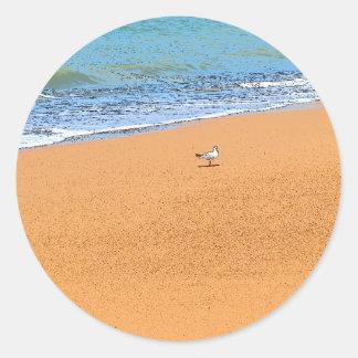 SEAGULL ON BEACH QUEENSLAND AUSTRALIA CLASSIC ROUND STICKER