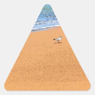 SEAGULL ON BEACH QUEENSLAND AUSTRALIA TRIANGLE STICKER