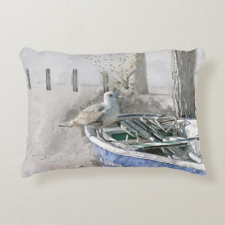 Seagull on Boat Watercolor Accent Pillow