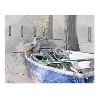 Seagull on Boat Watercolor Postcard