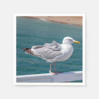 Seagull on railings paper napkins