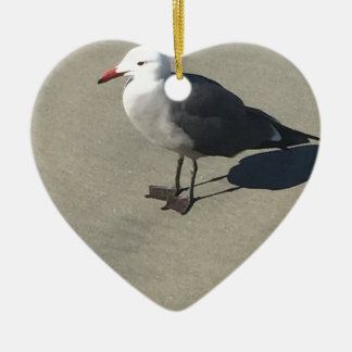 Seagull on Sandy Beach Ceramic Heart Ornament