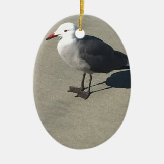 Seagull on Sandy Beach Ceramic Oval Ornament