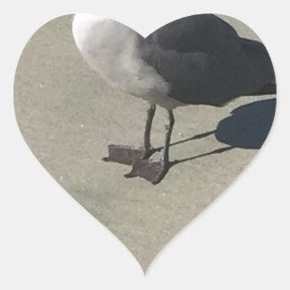 Seagull on Sandy Beach Heart Sticker